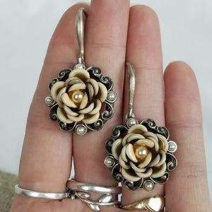 Sweet Romance Heirloom Rose Pewter hook earrings